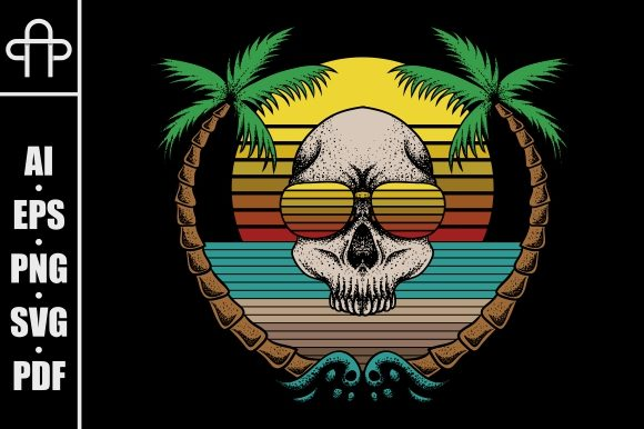 Print on Demand: Skull Beach Retro Graphic Illustrations By Andypp