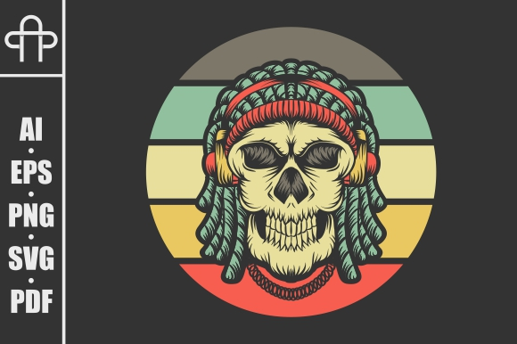 Download Free Skull Dreadlocks Headphone Retro Grafico Por Andypp Creative for Cricut Explore, Silhouette and other cutting machines.