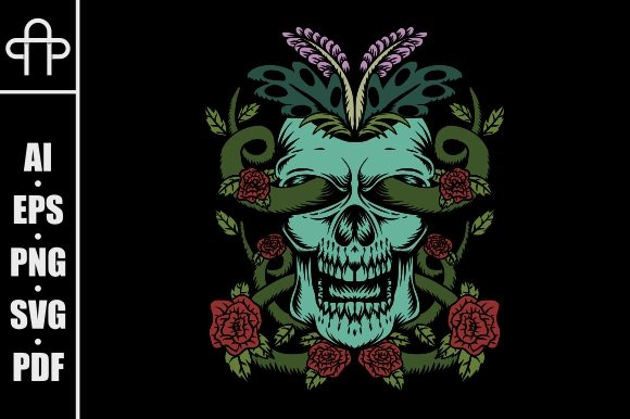 Print on Demand: Skull Rose Decoration Illustration Graphic Illustrations By Andypp
