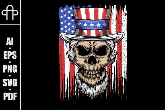 Download Free Skull Uncle Sam Graphic By Andypp Creative Fabrica for Cricut Explore, Silhouette and other cutting machines.