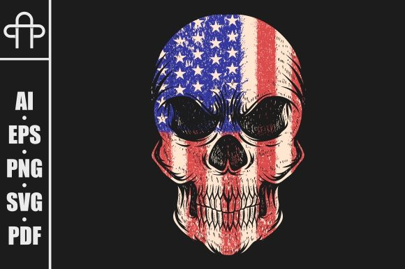 Print on Demand: Skull Usa Flag Graphic Illustrations By Andypp