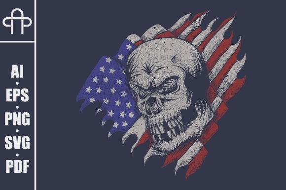 Skull Usa Flag Illustration Graphic Illustrations By Andypp