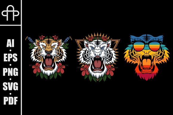 Print on Demand: Tiger Decoration Illustration Graphic Illustrations By Andypp