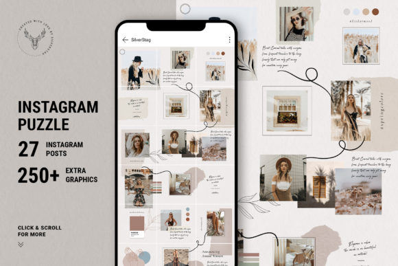 Print on Demand: 10 Instagram Puzzle Template Graphic Websites By SilverStag