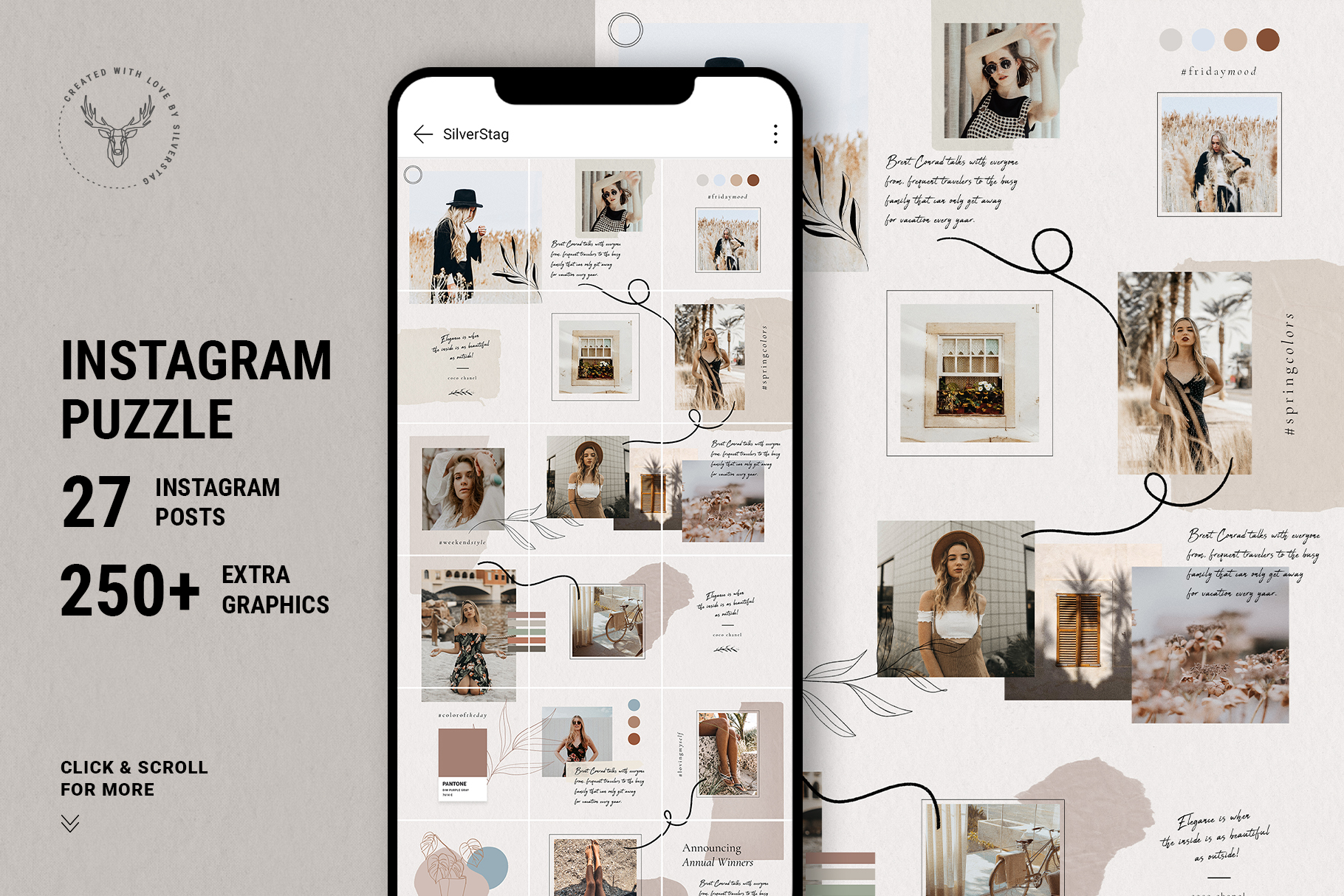 Download Free 10 Instagram Puzzle Template Graphic By Silverstag Creative for Cricut Explore, Silhouette and other cutting machines.