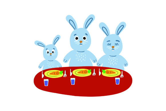 Bunny Family Sitting at Table Easter Craft Cut File By Creative Fabrica Crafts