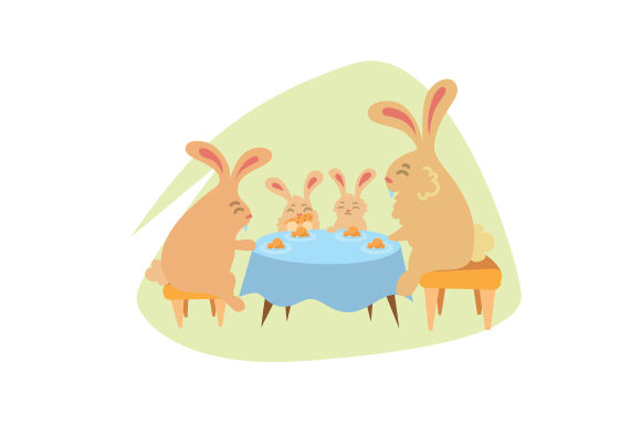 Download Free Bunny Family Sitting At Table Svg Cut File By Creative Fabrica for Cricut Explore, Silhouette and other cutting machines.