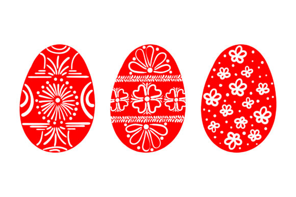 Painted Easter Eggs - Red and White Easter Craft Cut File By Creative Fabrica Crafts