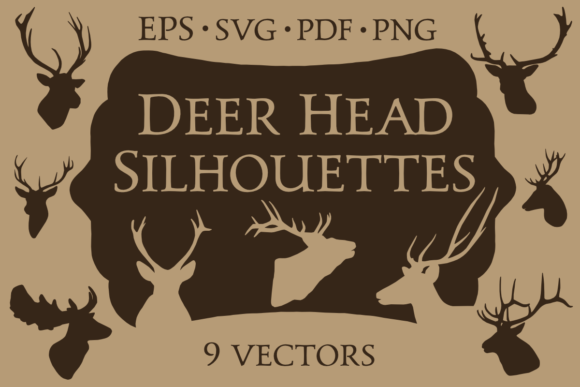 9 Vector Deer Head Silhouettes Graphic Objects By merakireveriestudio