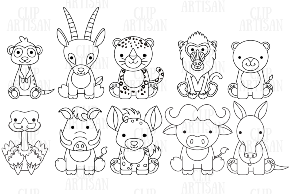 African Animals 2 Graphic Coloring Pages & Books Kids By ClipArtisan