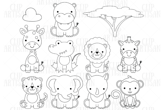 African Animals Graphic Coloring Pages & Books Kids By ClipArtisan - Image 1
