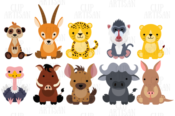 African Animals Graphic Illustrations By ClipArtisan