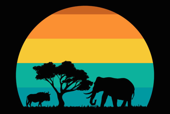 Print on Demand: African Sunset Landscape Retro Clipart Graphic Illustrations By SunandMoon
