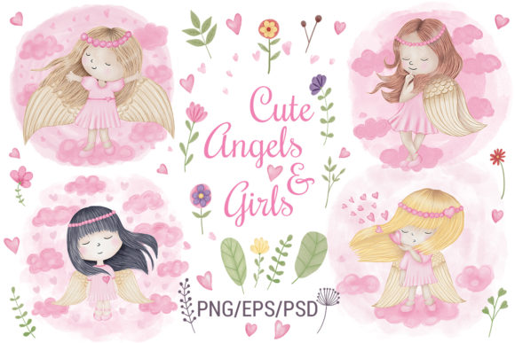 Print on Demand: Angel Girl Wings Graphic Illustrations By PawStudio - Image 1