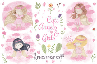 Print on Demand: Angel Girl Wings Graphic Illustrations By PawStudio