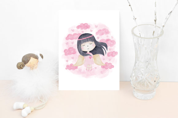 Print on Demand: Angel Girl Wings Graphic Illustrations By PawStudio - Image 4