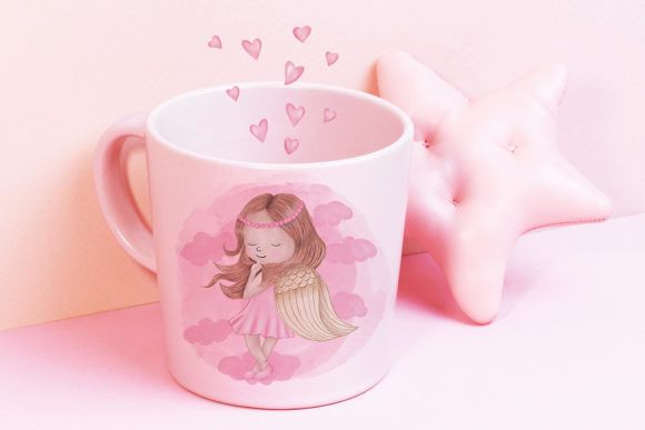 Print on Demand: Angel Girl Wings Graphic Illustrations By PawStudio - Image 7