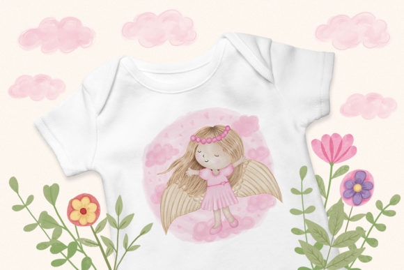 Print on Demand: Angel Girl Wings Graphic Illustrations By PawStudio - Image 8