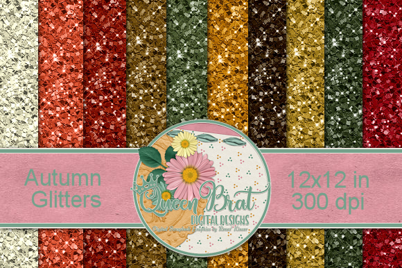 Print on Demand: Autumn Glitter Backgrounds Graphic Backgrounds By QueenBrat Digital Designs