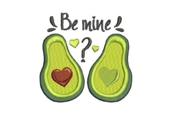Be Mine Avocado Valentinstag Stickdesign von Embroidery Designs