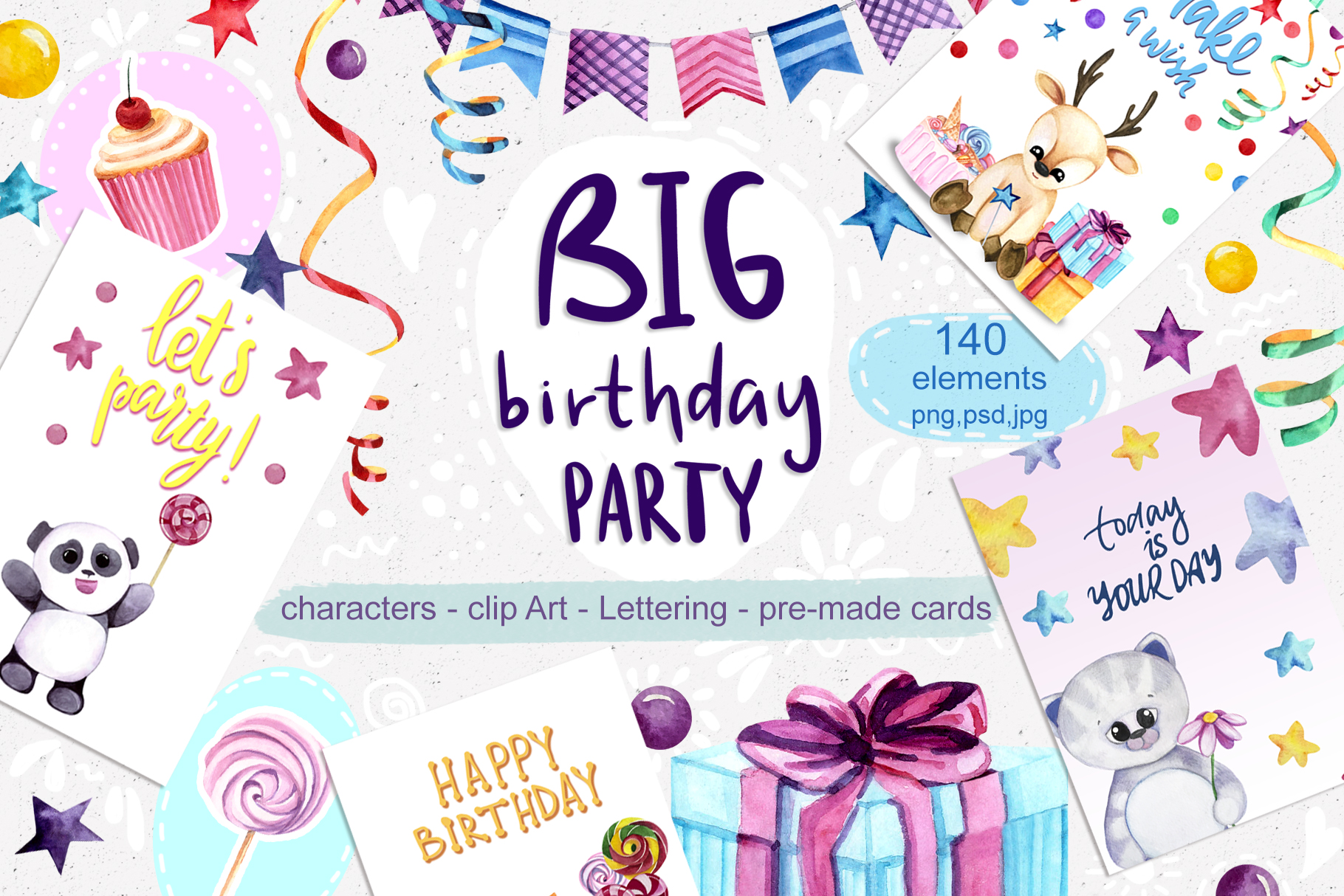Download Free Big Birthday Party Graphic By Vera Vero Creative Fabrica for Cricut Explore, Silhouette and other cutting machines.