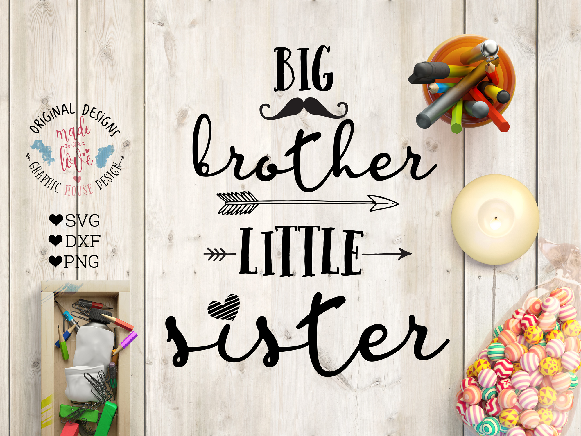 Download Free Big Brother Little Sister Graphic By Graphichousedesign for Cricut Explore, Silhouette and other cutting machines.