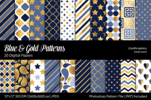 Blue and Gold Digital Papers Graphic Patterns By ZoollGraphics