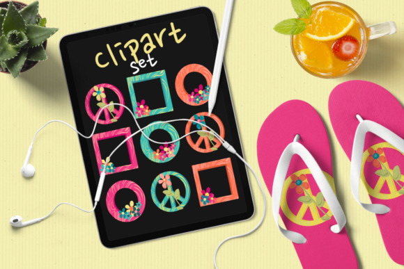 Print on Demand: Bright Colored Hippie Frames Graphic Illustrations By print.cut.hang