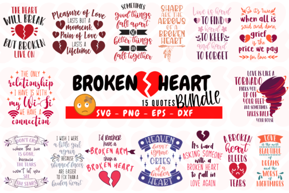Broken Heart Bundle Grafik Plotterdateien von Graphipedia