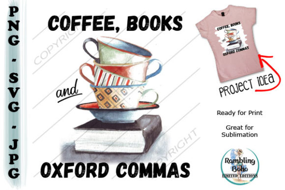 Coffee and Oxford Commas Graphic Illustrations By RamblingBoho - Image 1