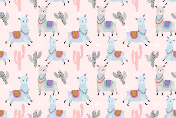 Cute Alpaca with Cactus in Pastel Color Graphic Patterns By ranger262
