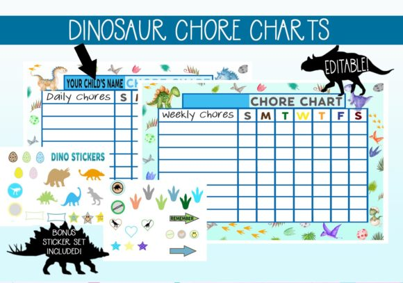Download Free Cute Dinosaur Chore Charts Graphic By Capeairforce Creative for Cricut Explore, Silhouette and other cutting machines.
