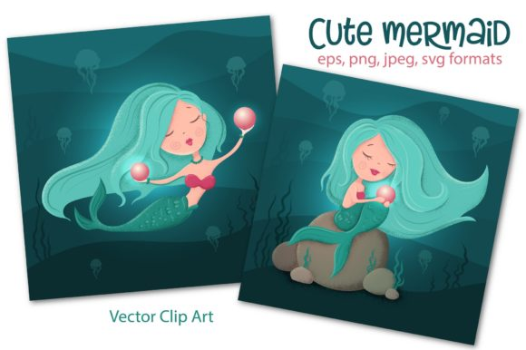 Download Free Cute Mermaid Graphic By Nicjulia Creative Fabrica for Cricut Explore, Silhouette and other cutting machines.