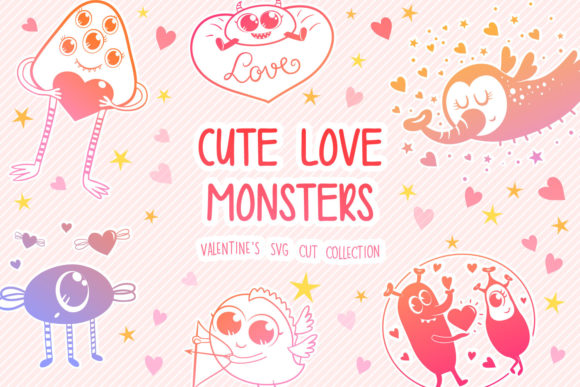 Download Free Cute Monsters Graphic By Tatiana Cociorva Creative Fabrica for Cricut Explore, Silhouette and other cutting machines.