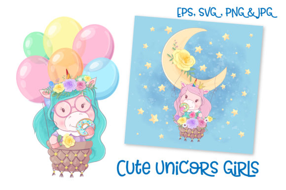 Download Free Cute Unicorns Girls Graphic By Nicjulia Creative Fabrica for Cricut Explore, Silhouette and other cutting machines.