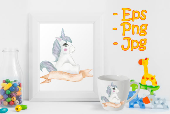 Print on Demand: Cute Baby Unicorns with Ribbon Banners Graphic Illustrations By OrchidArt