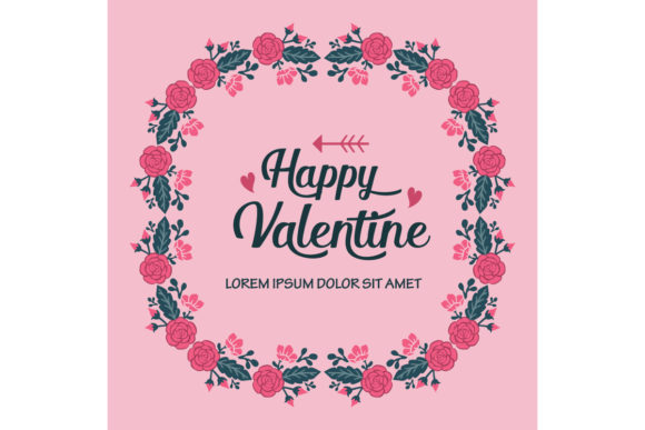 Download Free Decoration Greeting Card Happy Valentine Graphic By Stockfloral for Cricut Explore, Silhouette and other cutting machines.