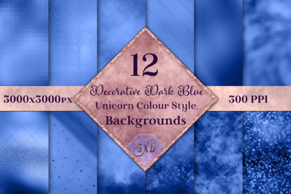 Print on Demand: Decorative Dark Blue Backgrounds Graphic Backgrounds By SapphireXDesigns