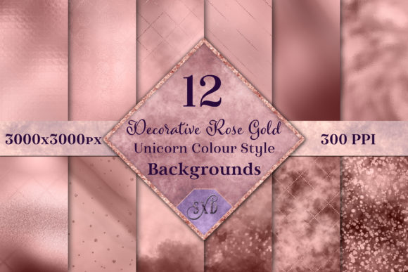 Print on Demand: Decorative Rose Gold Backgrounds Graphic Backgrounds By SapphireXDesigns