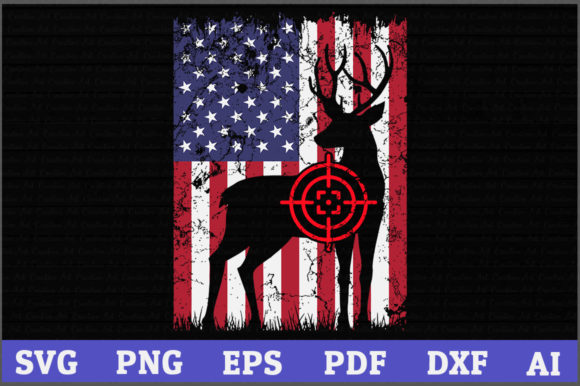 Download Free Deer Hunting American Flag Graphic By Aartstudioexpo Creative for Cricut Explore, Silhouette and other cutting machines.