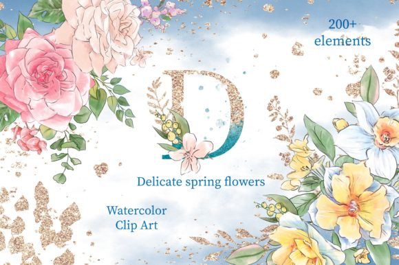 Print on Demand: Delicate Spring Flowers Graphic Illustrations By nicjulia - Image 1