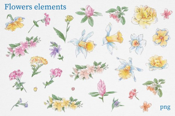 Print on Demand: Delicate Spring Flowers Graphic Illustrations By nicjulia - Image 11