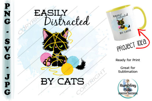 Distracted by Cats Graphic Illustrations By RamblingBoho
