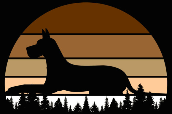 Print on Demand: Dog Vintage Great Dane Sunset Clipart Graphic Illustrations By SunandMoon