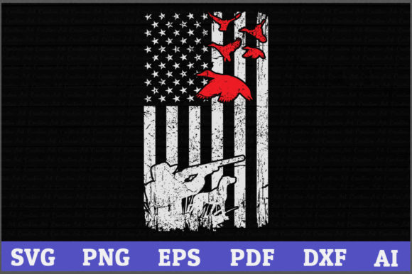 Download Free Duck Hunting American Flag Usa Hunting Graphic By Aartstudioexpo for Cricut Explore, Silhouette and other cutting machines.