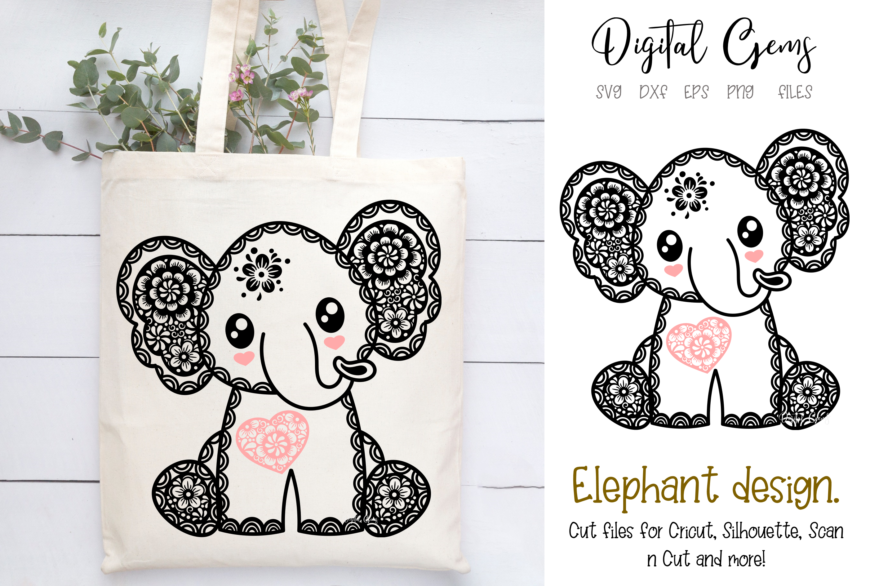 Download Free Elephant Design Graphic By Digital Gems Creative Fabrica for Cricut Explore, Silhouette and other cutting machines.