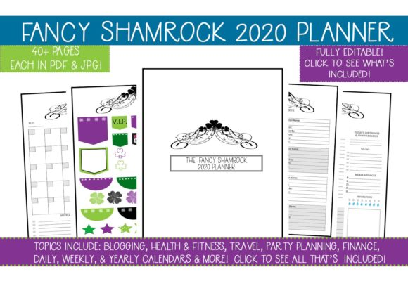 Print on Demand: Fancy Shamrock 2020 Planner Graphic Print Templates By CapeAirForce