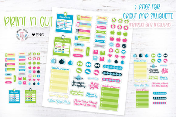 Print on Demand: Fitness Planner Stickers Graphic Illustrations By GraphicHouseDesign - Image 1