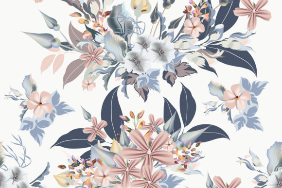 Floral Pattern with Blue, Pink Flowers Graphic Patterns By fleurartmariia