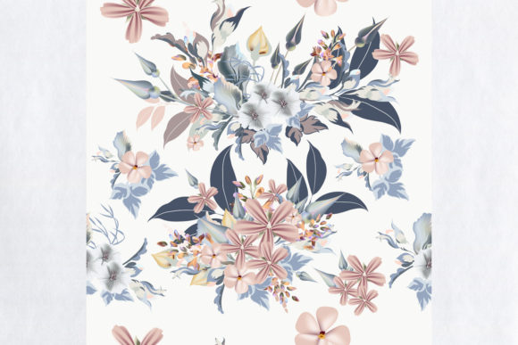 Floral Pattern with Blue, Pink Flowers Graphic Patterns By fleurartmariia - Image 2